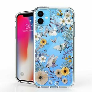 """For iPhone 11 6.1"""" Hybrid Bumper Shockproof Case Purple Flowers Butterfly"""