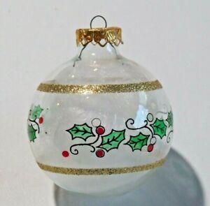 Hand Painted Glass Bulb Bronner's Austria Angel Hair Holly Design Gold Glitter