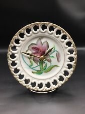 Purple Floral Fancy Edge Clock Plate !
