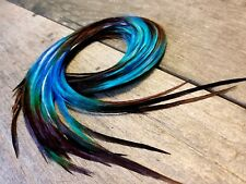 Feather hair extensions black N Blue ombre premium quality beads eurohackle 11""