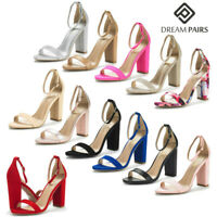 DREAM PAIRS Women High Chunky Heel Open Toe Ankle Strap Wedding Party Sandals