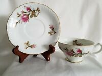 Royal Rose Fine China Tea Cup With Saucer White Rose Print 2 Sets
