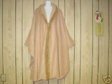 NWT NWOT Ladies Women Cape Cloak Camel Color Evening Wrap Fancy Faux fur collar