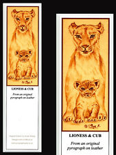 Lioness & Lion Cub Big Cat Laminated Bookmark - Print from Original Art
