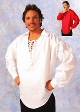 PIRATE RENAISSANCE COLONIAL ZORRO THREE MUSKETEERS MALE MENS COSTUME SHIRT RED