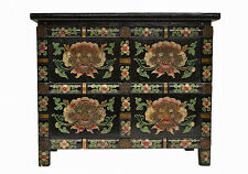 Black Chinese Small Wooden Nightstand Chest with Painting on Four Sides Feb17-08