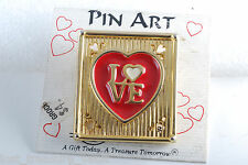 Pin Art Spoontiques Brooch Pin Heart Love in a Frame Gold Tone Metal Enamel NOC
