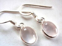 Small Rose Quartz Oval Ellipse 925 Sterling Silver Dangle Earrings New