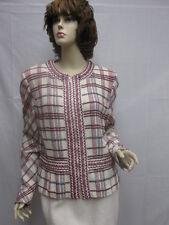 St John Knit Collection NWOT White Red Navy Princess Jacket Size 14
