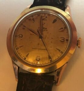 CLASSIC VINTAGE GOLD TONE 1950s LOVELY PATINA DIAL CYMA MENS MECHANICAL WATCH .