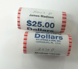 Two US ROLLS of UNC PRES. DOLLARS, JAMES MADISON & ABRAHAM LINCOLN - $50.00 Face