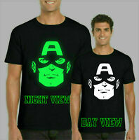 Captain America GLOW IN THE DARK T-Shirt, Marvel Comics Gifts Kids & Adults Top