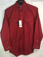 NOS Mens Wrangler Western Long Sleeve Work Shirt Button Down Red Small MP3522R