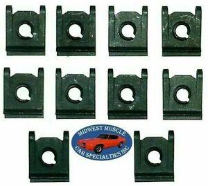 GM Body Fender Dash Factory Correct 1/4-14 Screw Bolt U Clips J Nuts 10pcs P