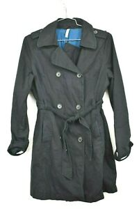 Old Navy Womens Black Button & Tie Front Trench Coat Long Sleeve Cotton Sz Large
