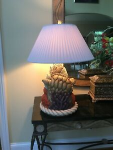 Large and Colorful Ceramic Sea Turtle Motif Table Lamp from West Coast Statuary