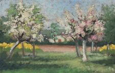 Tableau ancien paysage Arbre en fleurs - Peinture à l'huile sur toile