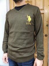 MEN'S NEW US POLO ASSN V-NECK JUMPER AUTHENTIC SWEATER TOP - RRP £35