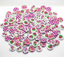 80X15mm WOODEN ROUND BUTTONS PINK MIX CRAFT SEWING SCRAPBOOKING EMBELISHMENTS