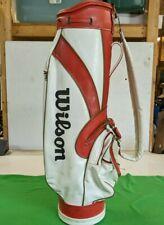 Vintage Wilson Vinyl Golf Bag Red/ White 6 Way Top w/ Rain Cover
