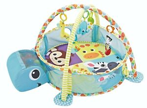Baby Playmat 3in1 Blue Turtle Activity Play Mat With Sensory Toys & Ball Pit