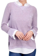 New Democracy Layered Sweater Lilac Purple Knit & White Blouse tunic XL NWT r$88
