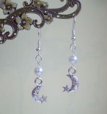 Moon and Stars Charm White Pearl Bead Dangly Earrings