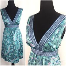 H&M Womens Dress Size 8 Peacock Pattern Green Blue V-Neck Sleeveless Tie in Back