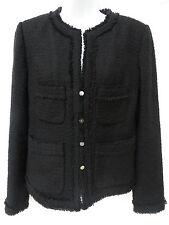 J CREW Womens Black Tweed Fringe Wool Blazer Suit Jacket 10