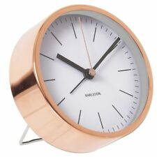 Karlsson-Minimal Alarm Clock - White with Copper Case Silent Movement 10cm