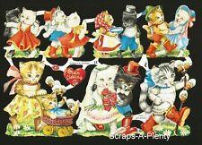 German Embossed Scrap Die Cut - Kittens / Cats Wedding Dancing  EF7033