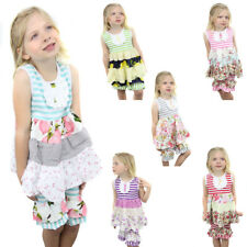 Girls Stripe Floral 2 Pc Boutique Ruffle Sleeveless Tank Top Capri Shorts Outfit