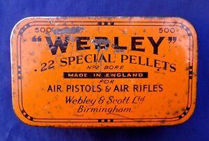 WW2 ERA WEBLEY TIN FOR .22 SPECIAL PELLETS NO. 2. BORE AIR PISTOLS & AIR RIFLES.