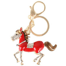 Red Run Horse Tail Fashion Cute Crystal Charm Pendant Purse Bag Key Ring Chain