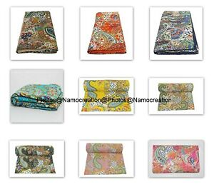 Handamde Cotton Kantha Paisely Print Bedding Bedspread Boho Quilting Quilt