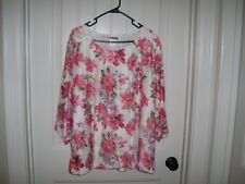 NEW! REBECCA MALONE WOMEN'S PINK FLORAL LACE TOP SIZE 3X