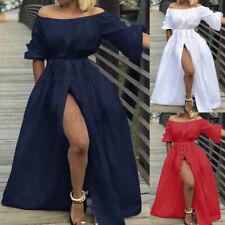 Women Holiday Off Shoulder Bardot Maxi Dress Beach Split Sundress Plus Size 8-26