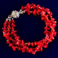 Hot 1 Strand Natural Red Coral Freeform Beads bracelet 7.5 inch SD2019711