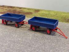 1/87 SES IFA E5 Landwirtschaftlicher Anhänger mit Metallpritsche blau 2x 14 1808