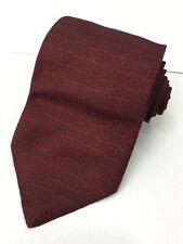 Authentic LOEWE MADRID Abstract Plaids Design On Maroon 100% Silk Necktie Tie