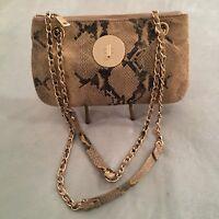 """Donna Karan NY Beige Snake Skincross body/over shoulder bag 7""""x11""""wNewGold"""