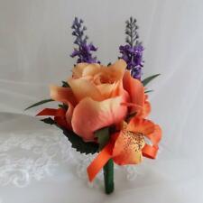 SALE! LADIES CORSAGE BUTTON HOLE ARTIFICIAL SILK FLOWER WEDDING ORANGE LAVENDER