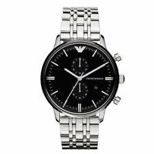 New Emporio Armani AR0389 Stainless Steel Chronograph Black Men's Quartz Watch