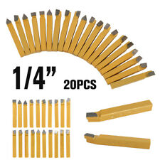 "20PCS 1/4"" METAL LATHE TOOLING CARBIDE TIP TIPPED CUTTER TOOL BIT CUTTING SET CA"