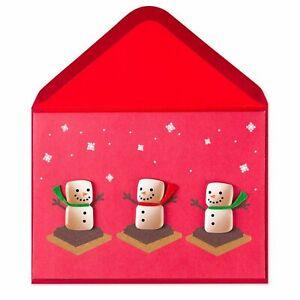 Papyrus S'mores Snowmen Christmas Card - 3D Marshmallows,Chocolate, felt Scarves