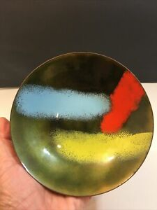 Vintage Mid Century Modern Retro Enamel On Copper Bowl Signed