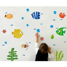 Kids Bathroom Nursery Small Cartoon Fish Sea Bubble Wall Sticker Home Decor