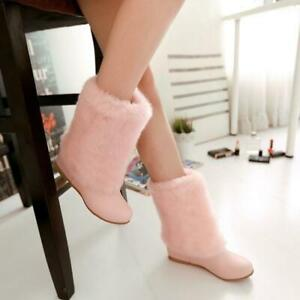 Women's Boots Comfortable Insulated Faux Fur Concealed High Heels Mid-Calf Boots
