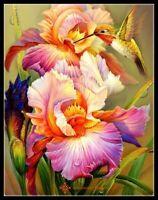 Iris and Hummingbird I - DIY Chart Counted Cross Stitch Patterns Needlework