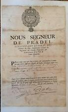 General de Pradel- Early French Signed Document